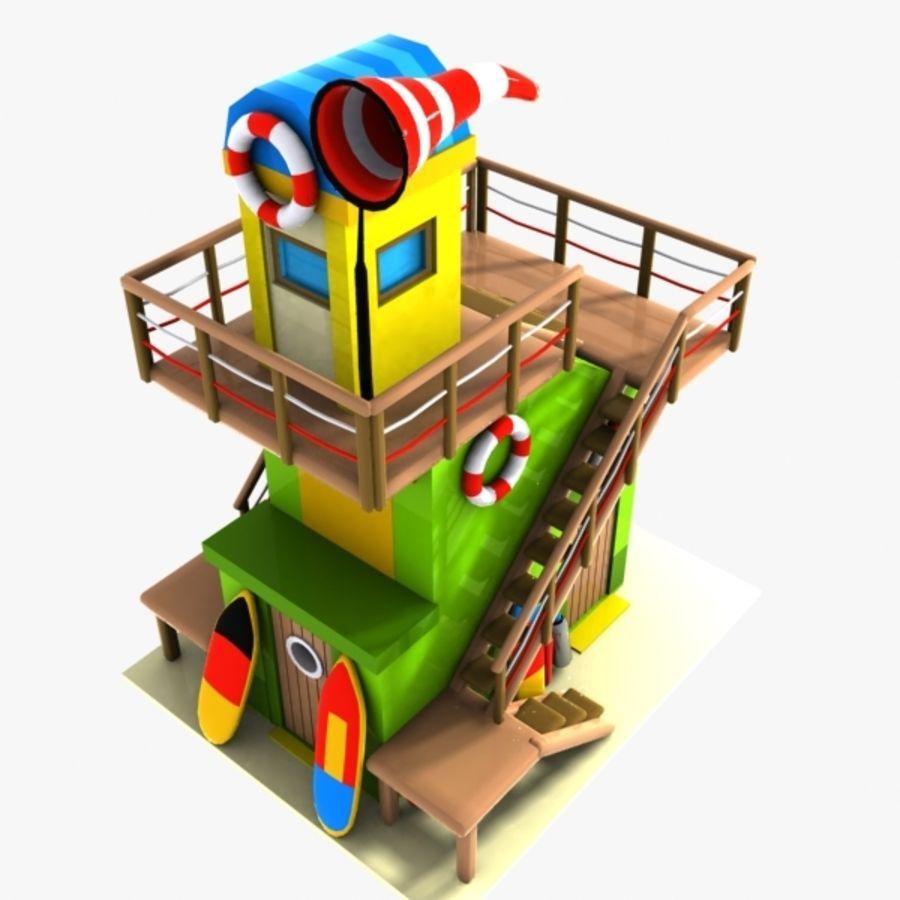 卡通救生塔1 royalty-free 3d model - Preview no. 3