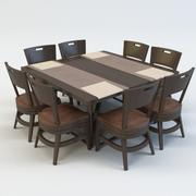 TABLE AND CHAIR DINING SET 3d model