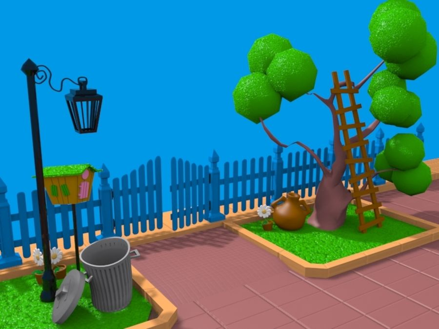 cartoon gate royalty-free 3d model - Preview no. 6