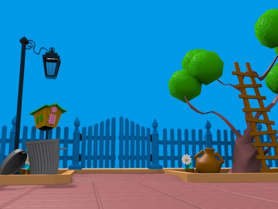 cartoon gate royalty-free 3d model - Preview no. 3
