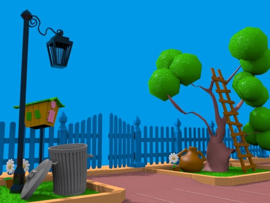 cartoon gate royalty-free 3d model - Preview no. 7