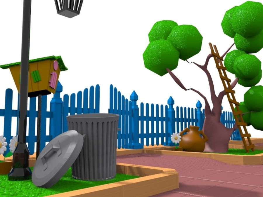 cartoon gate royalty-free 3d model - Preview no. 1