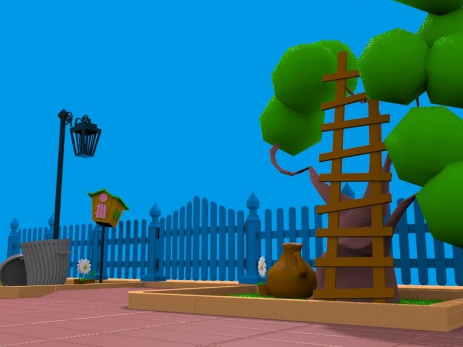 cartoon gate royalty-free 3d model - Preview no. 4