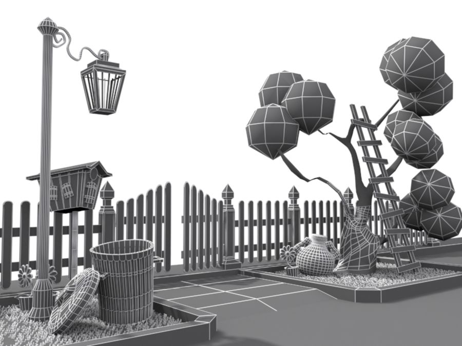 cartoon gate royalty-free 3d model - Preview no. 8