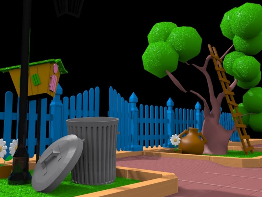cartoon gate royalty-free 3d model - Preview no. 2