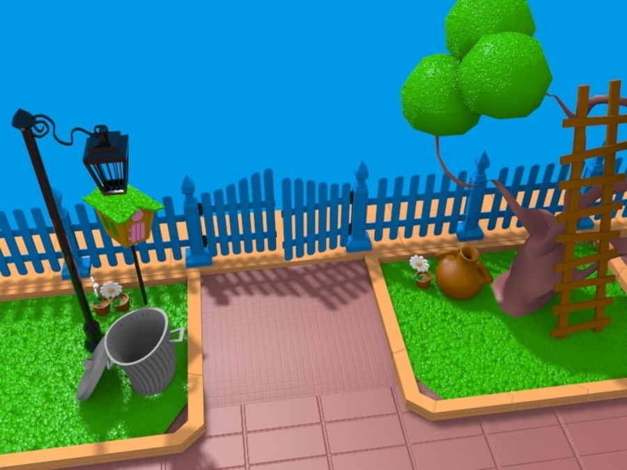 cartoon gate royalty-free 3d model - Preview no. 5