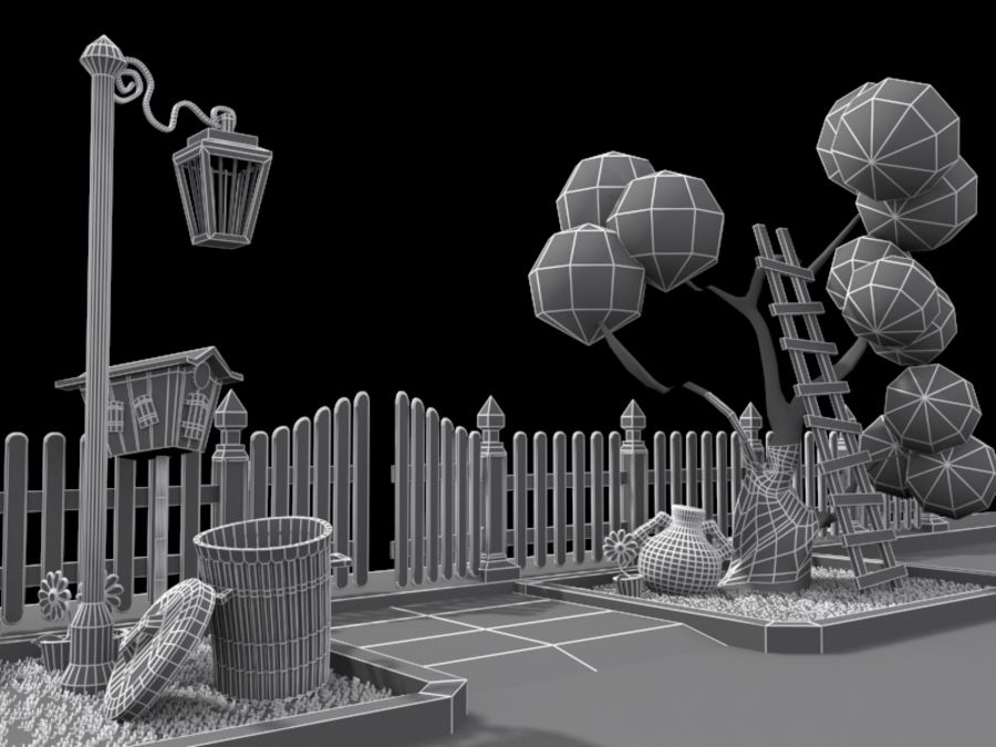 cartoon gate royalty-free 3d model - Preview no. 9
