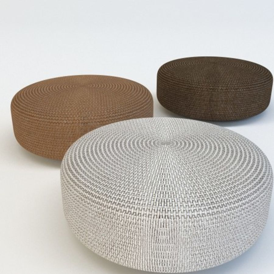 SKYLINE RATTAN POUF royalty-free 3d model - Preview no. 1