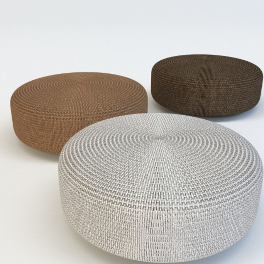 SKYLINE RATTAN POUF royalty-free 3d model - Preview no. 3