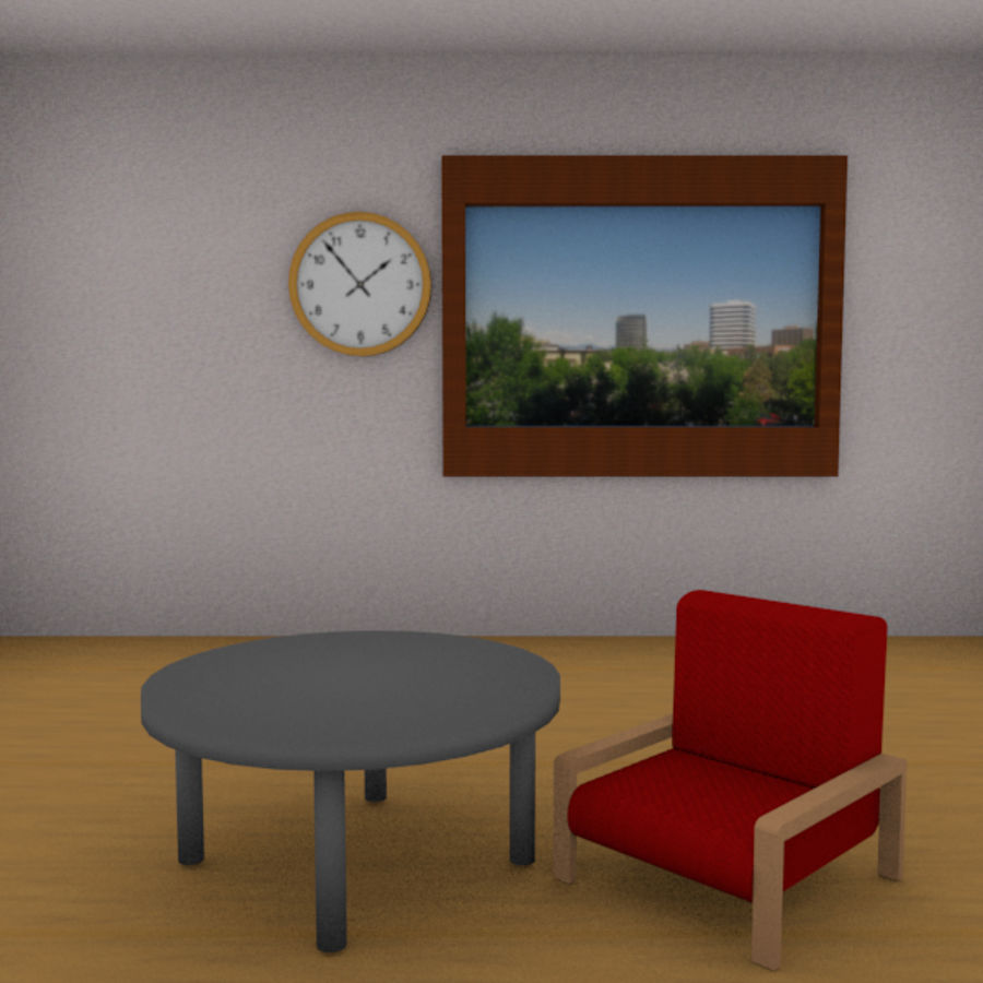 Red Chair royalty-free 3d model - Preview no. 7