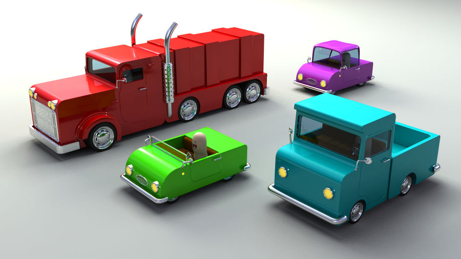 Rigged Toy vehicles royalty-free 3d model - Preview no. 2