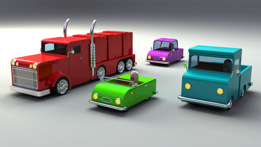 Rigged Toy vehicles royalty-free 3d model - Preview no. 1