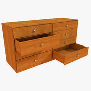 Simple office chest of drawers Big Table prop detail room living (2) 3d model