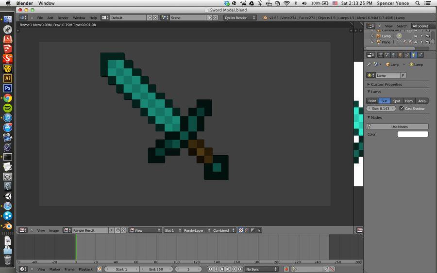 Minecraft Diamond Sword Modelo 3D $2 -  3ds  fbx  stl  blend