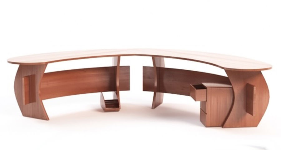 Zakrzywione biurko biurowe royalty-free 3d model - Preview no. 1