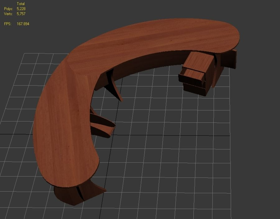 Zakrzywione biurko biurowe royalty-free 3d model - Preview no. 5