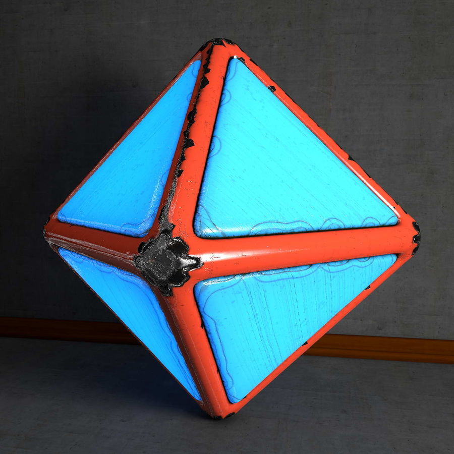 Glowing Worn Metal Octahedron royalty-free 3d model - Preview no. 1