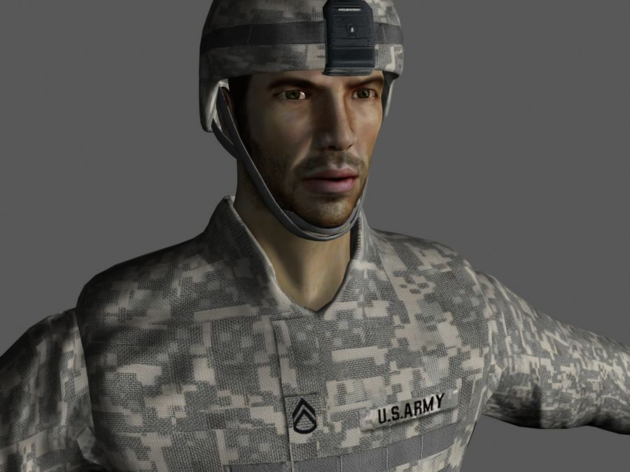 Us soldier V2 royalty-free 3d model - Preview no. 3