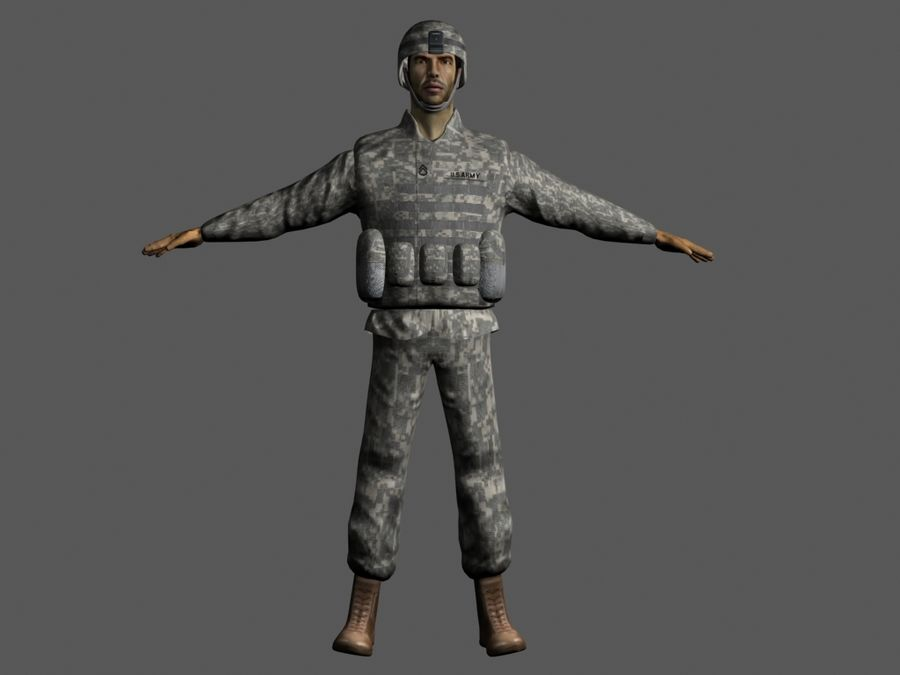 Us soldier V2 royalty-free 3d model - Preview no. 6