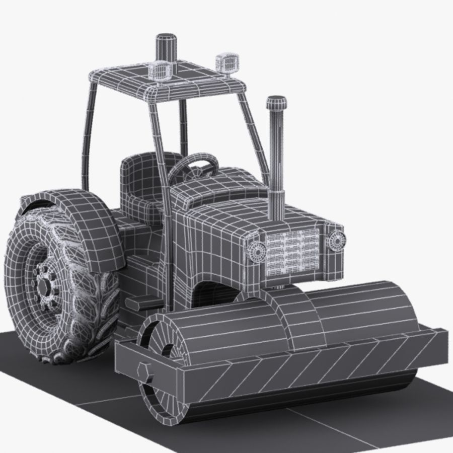 Cartoon Road Roller 2 royalty-free 3d model - Preview no. 8