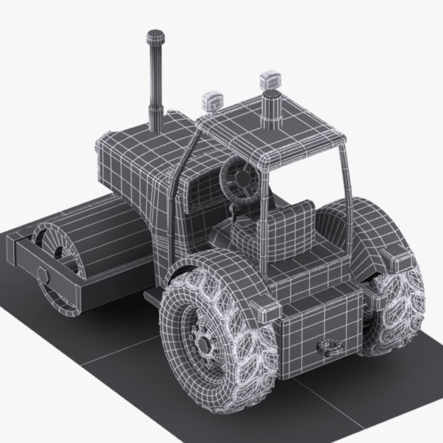 Cartoon Road Roller 2 royalty-free 3d model - Preview no. 10