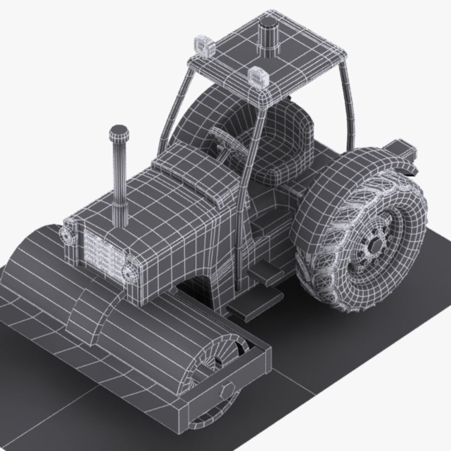 Cartoon Road Roller 2 royalty-free 3d model - Preview no. 9