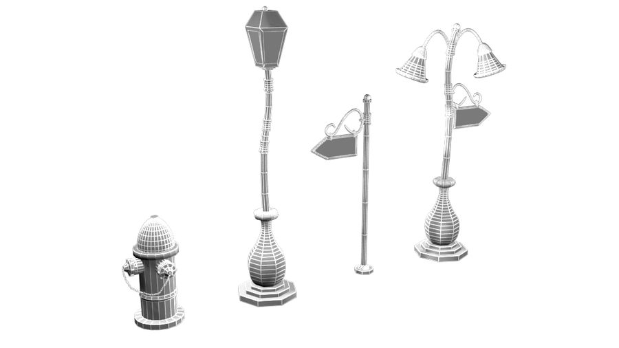 Lampy uliczne z kreskówek royalty-free 3d model - Preview no. 9