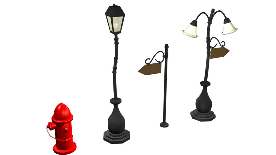 Lampy uliczne z kreskówek royalty-free 3d model - Preview no. 4