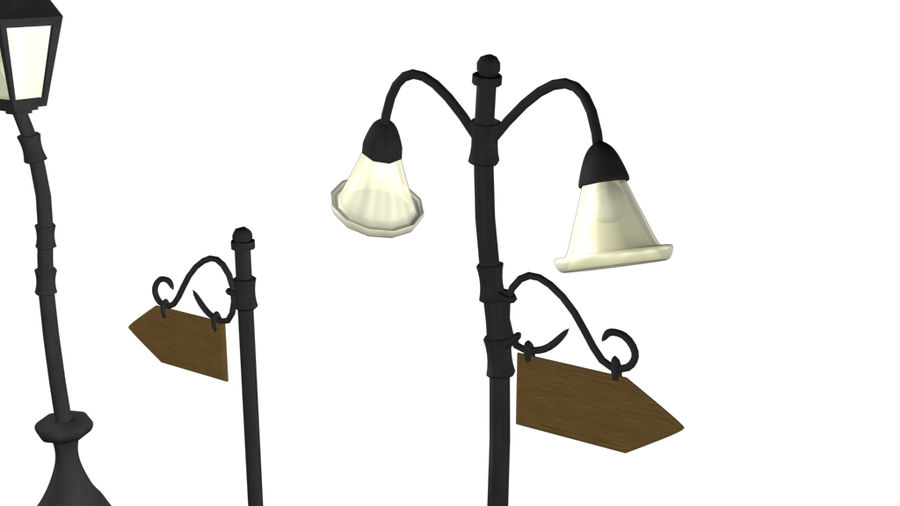 Lampy uliczne z kreskówek royalty-free 3d model - Preview no. 6