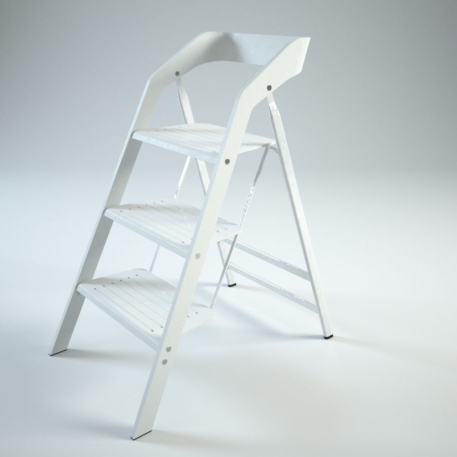 Pleasant Vintage Usit Stepladder Chair 3 Step Version Set 3D Model Caraccident5 Cool Chair Designs And Ideas Caraccident5Info