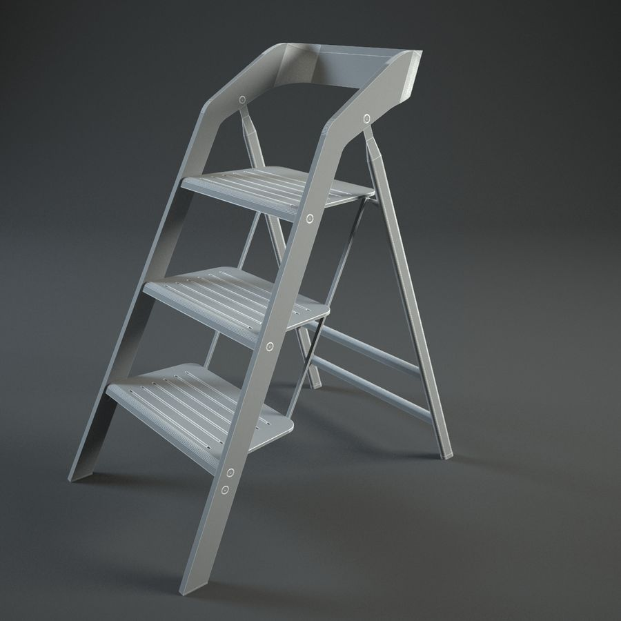 Terrific Vintage Usit Stepladder Chair 3 Step Version Set 3D Model Caraccident5 Cool Chair Designs And Ideas Caraccident5Info