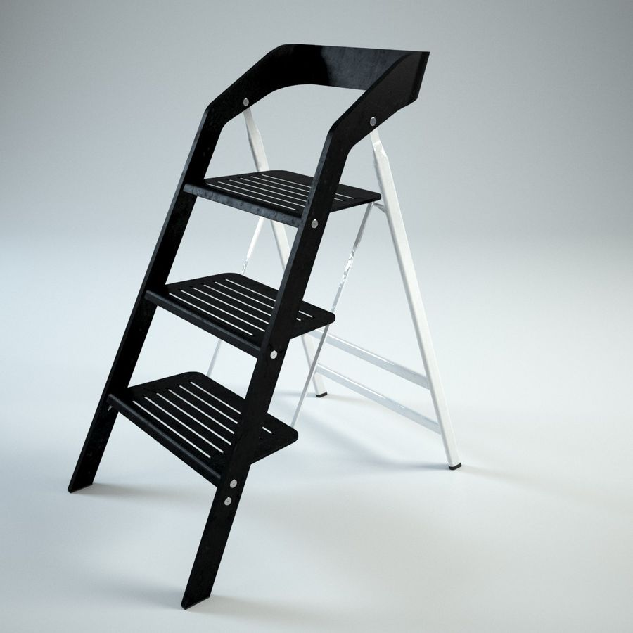 Pleasing Vintage Usit Stepladder Chair 3 Step Version Set 3D Model Caraccident5 Cool Chair Designs And Ideas Caraccident5Info