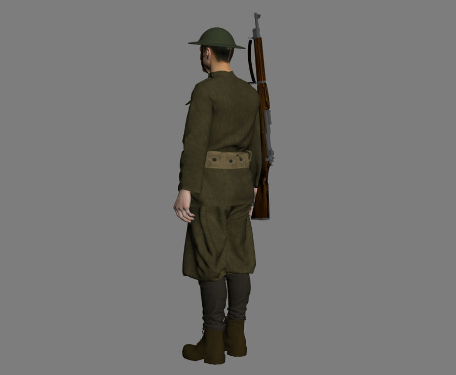 British soldier WW1 royalty-free 3d model - Preview no. 6