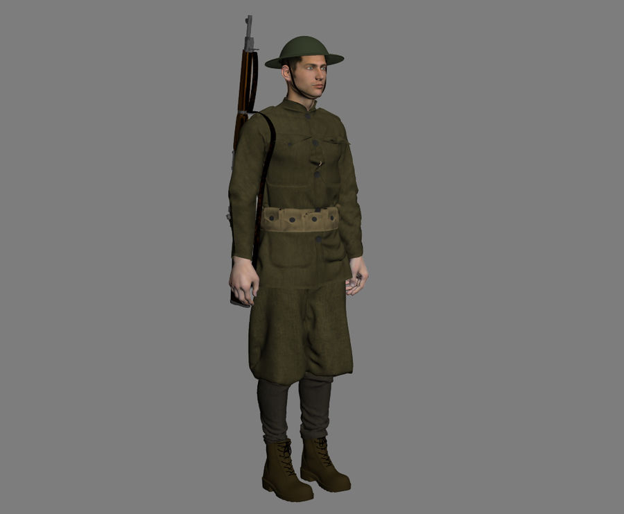 British soldier WW1 royalty-free 3d model - Preview no. 7