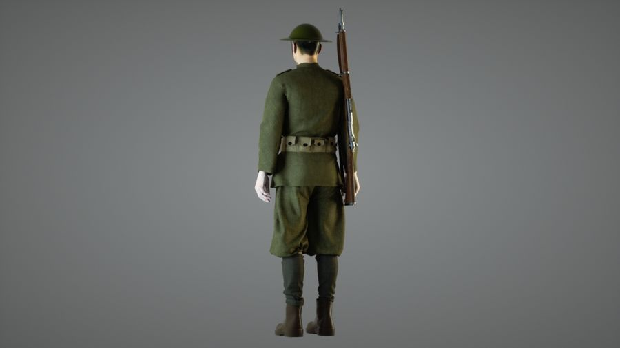 British soldier WW1 royalty-free 3d model - Preview no. 3