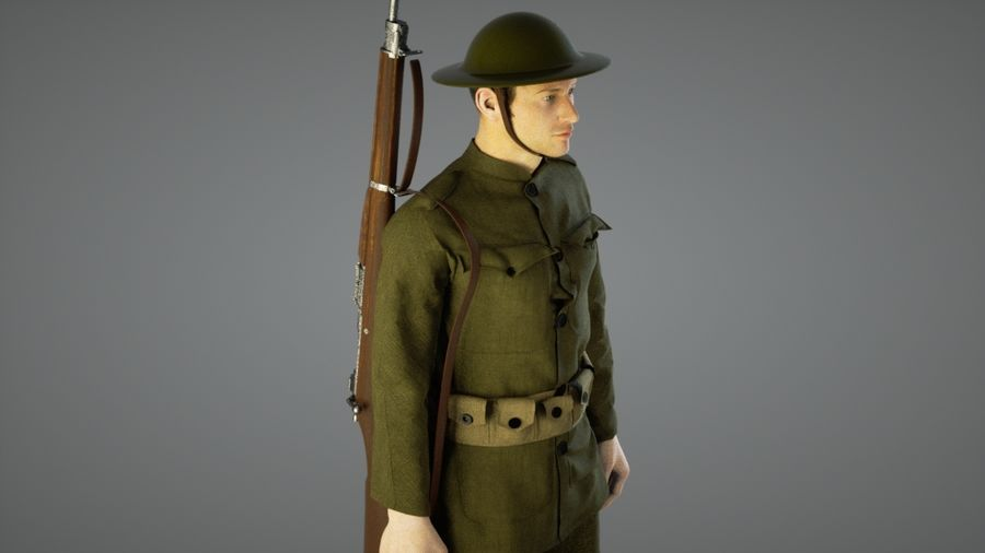 British soldier WW1 royalty-free 3d model - Preview no. 5