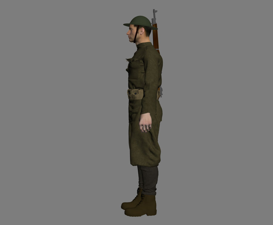 British soldier WW1 royalty-free 3d model - Preview no. 9