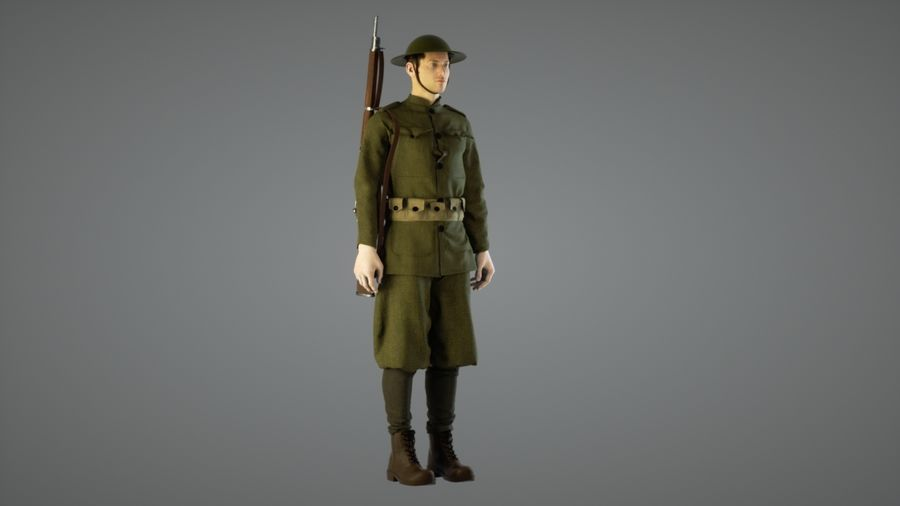 British soldier WW1 royalty-free 3d model - Preview no. 2