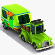 Cartoon Pickup Truck & Caravan 3d model