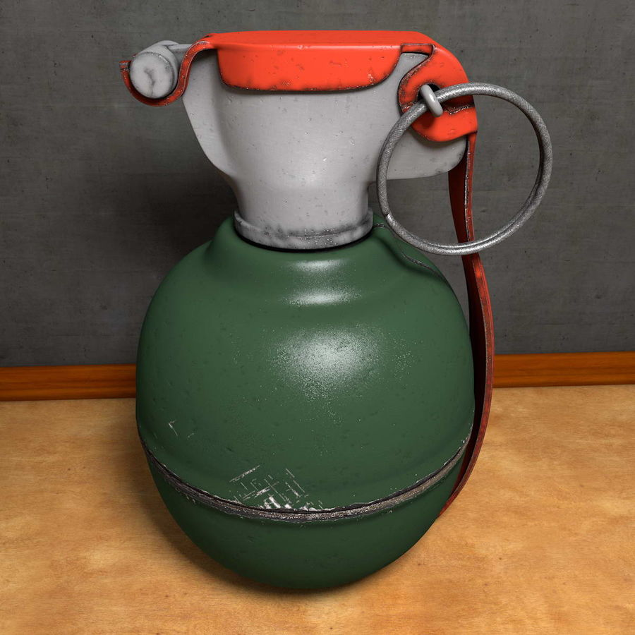 Realistic Fragmentation Hand Grenade royalty-free 3d model - Preview no. 2
