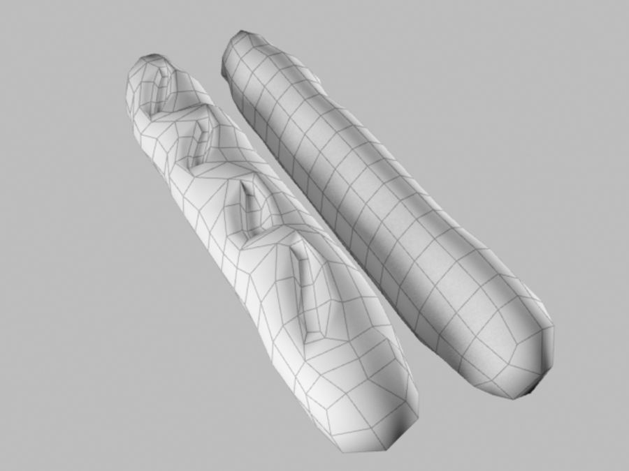Baguette 2 royalty-free 3d model - Preview no. 6