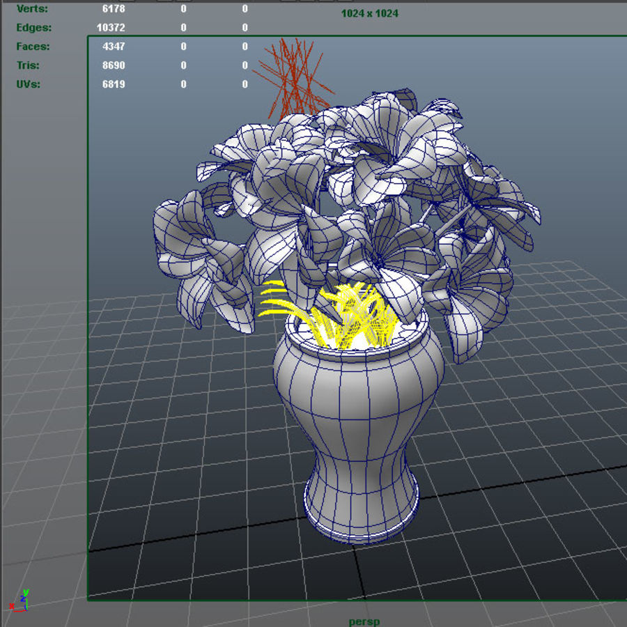 red flower royalty-free 3d model - Preview no. 8
