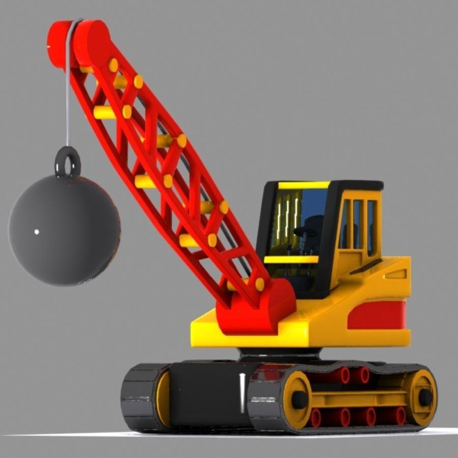 Cartoon Wrecking Ball Crane royalty-free 3d model - Preview no. 2