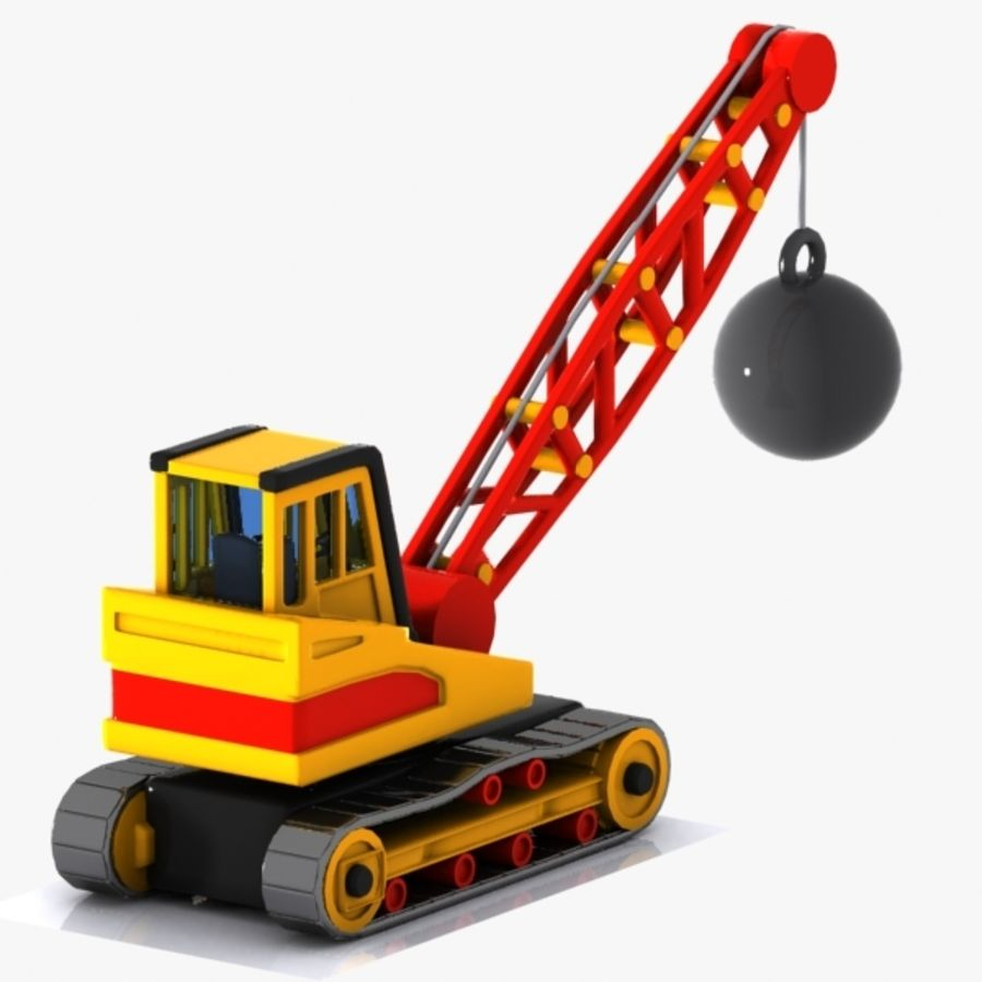 Cartoon Wrecking Ball Crane royalty-free 3d model - Preview no. 5