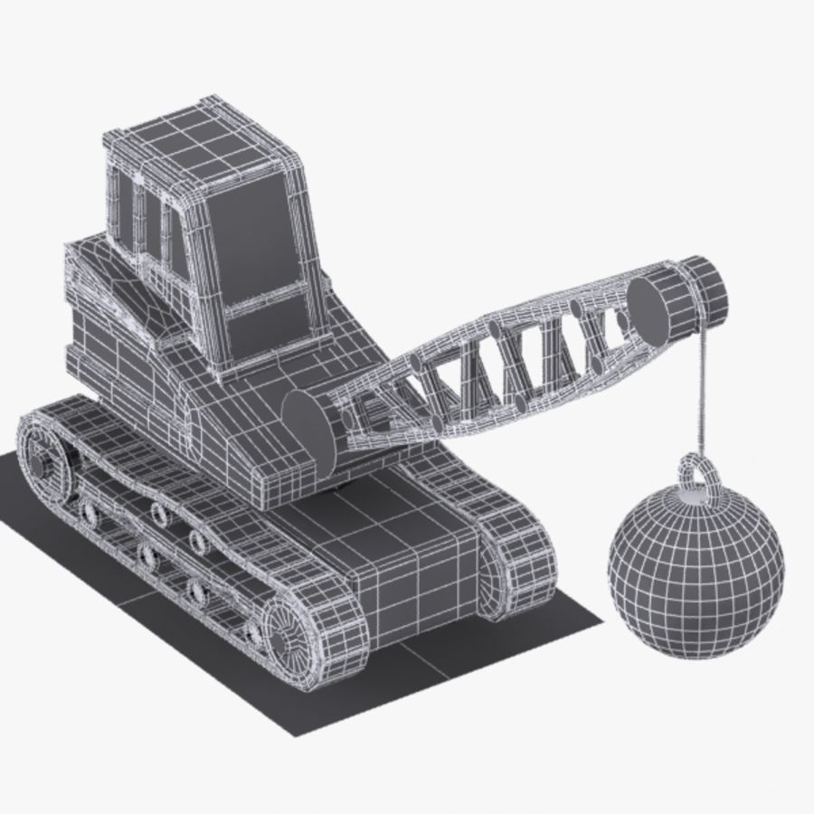Cartoon Wrecking Ball Crane royalty-free 3d model - Preview no. 8