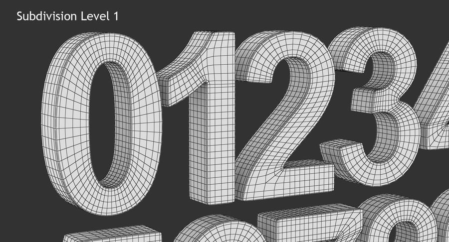 Number and Symbol (Subdivision) royalty-free 3d model - Preview no. 12