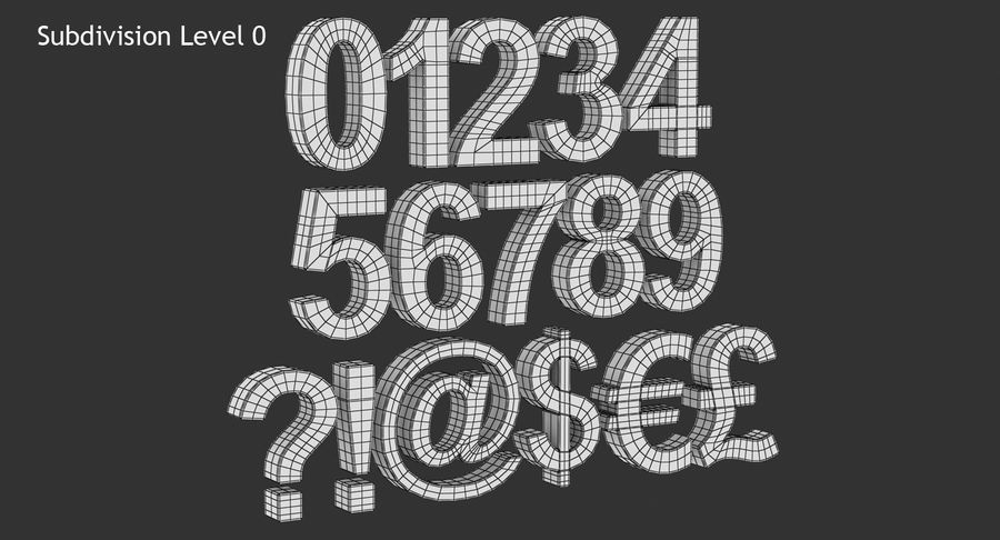 Number and Symbol (Subdivision) royalty-free 3d model - Preview no. 9