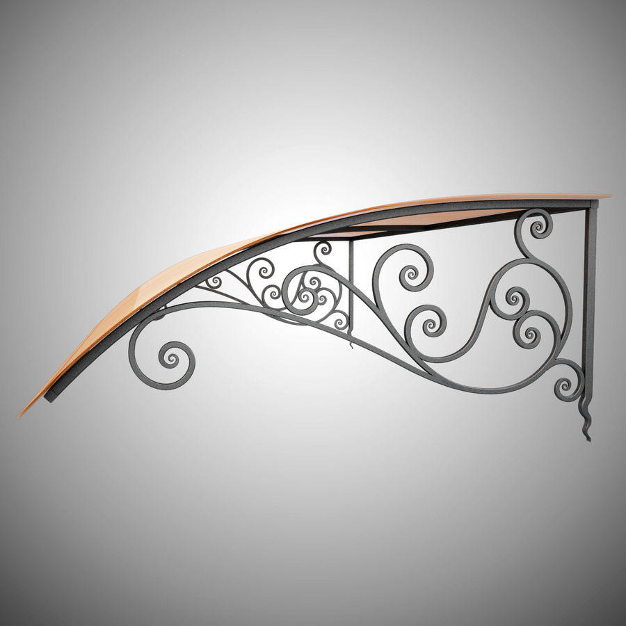 Wrought Iron Awning 18 royalty-free 3d model - Preview no. 6