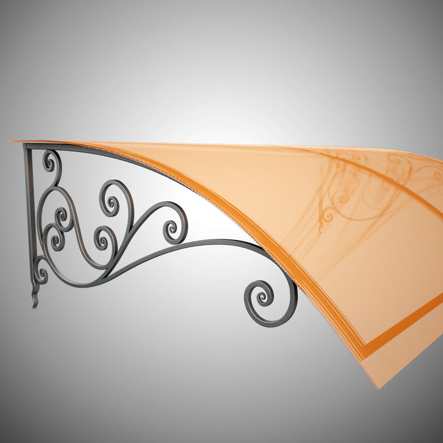 Wrought Iron Awning 18 royalty-free 3d model - Preview no. 3