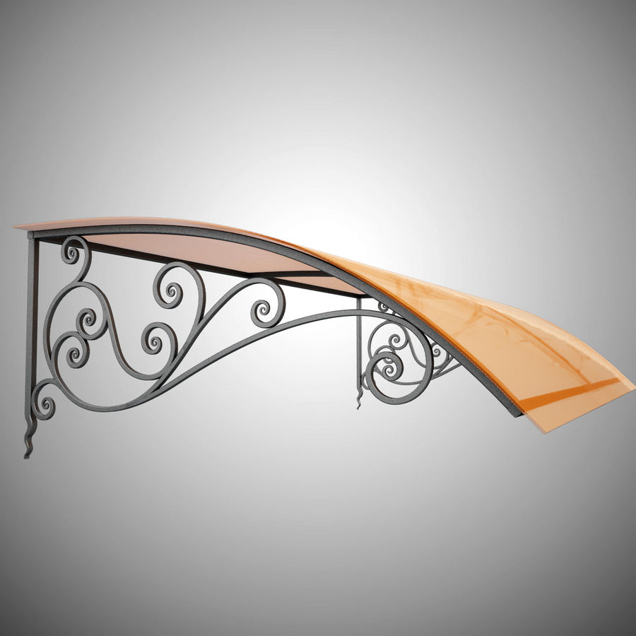 Wrought Iron Awning 18 royalty-free 3d model - Preview no. 4